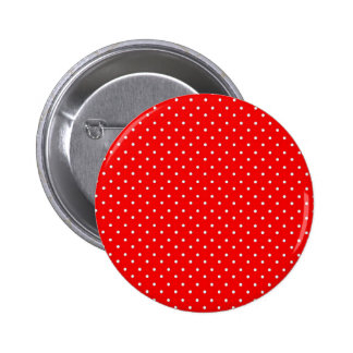 Poppy Red And White Polka Dots Design Pinback Button