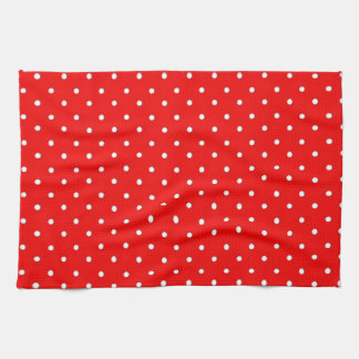 Poppy Red And White Polka Dots Design Hand Towels