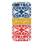Poppy Red & Blue Trendy personalized iPhone 5 Cover For iPhone 5