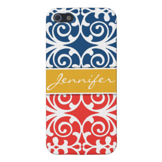 Poppy Red & Blue Trendy personalized iPhone 5 iPhone SE/5/5s Cover