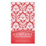 Poppy Red Damask Business Cards