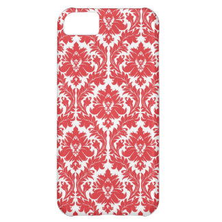 Poppy Red Damask pattern Cover For iPhone 5C