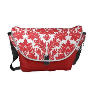 Poppy Red Damask pattern Courier Bags