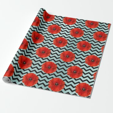 McTiffany Tiffany Aqua Poppy Red Flower Black White Glam Chevron Tiffany Wrapping Paper