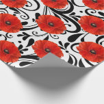 "Poppy Red Flower Black White Glam Stripes Chic Wrapping Paper<br><div class=""desc"">An interesting contrast between a red real poppy flower and glam black and white floral decor.