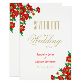 Poppy Red Flowers - Save the Date Card