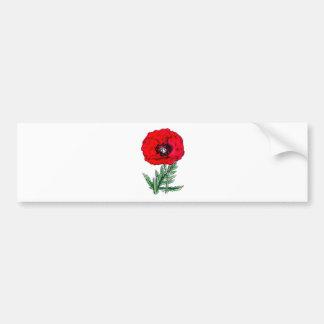 poppy red flowers vintage vines blossoms bumper sticker
