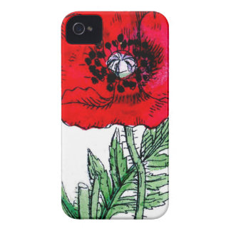 poppy red flowers vintage vines blossoms iPhone 4 covers
