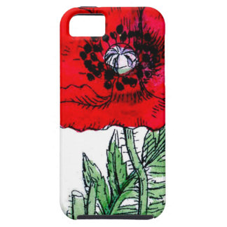 poppy red flowers vintage vines blossoms iPhone 5 cover