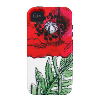 poppy red flowers vintage vines blossoms vibe iPhone 4 cover