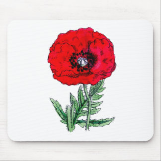 poppy red flowers vintage vines blossoms mouse pad
