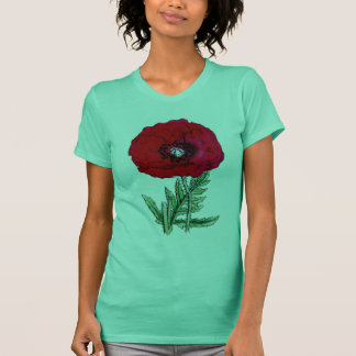 poppy red flowers vintage vines blossoms T-Shirt