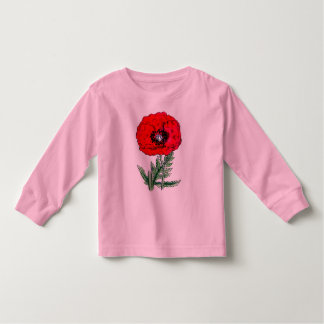 poppy red flowers vintage vines blossoms toddler t-shirt