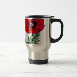 poppy red flowers vintage vines blossoms travel mug