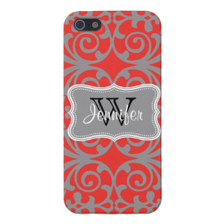 Poppy Red & Gray Trendy personalized iPhone 5 Case For iPhone SE/5/5s