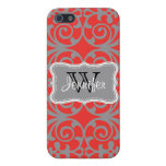 Poppy Red & Gray Trendy personalized iPhone 5 iPhone 5 Case