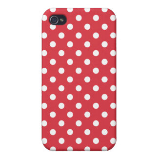 Poppy Red Polka Dot Pattern Case For iPhone 4