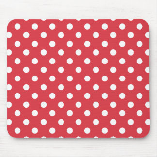Poppy Red Polka Dot Pattern Mouse Pad