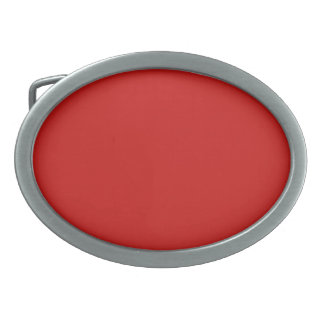 POPPY RED (solid deep red color) ~ Oval Belt Buckle