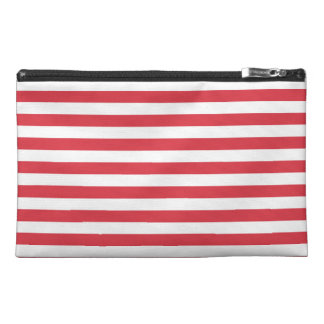 Poppy Red Stripes Pattern Travel Accessory Bags