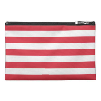 Poppy Red Stripes Pattern Travel Accessories Bag
