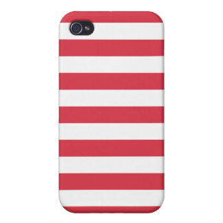 Poppy Red Stripes Pattern iPhone 4 Covers