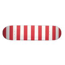 Poppy Red Stripes Pattern Skateboard Deck