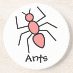 Poppy Red Vector Ant Drink Coasters