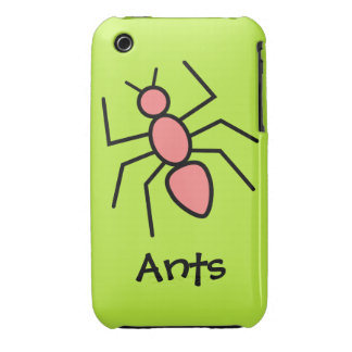 Poppy Red Vector Ant (Grass Green Background) iPhone 3 Case