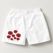 Poppy red white boxers