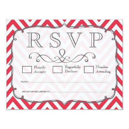 Poppy Red & White Chevron Wedding RSVP Cards