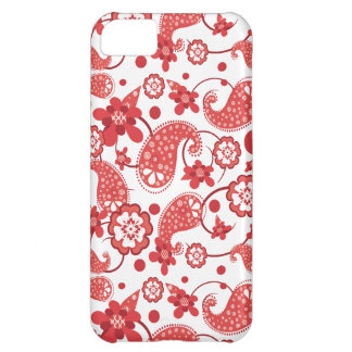 Poppy Red | White Chic Paisley Pattern Case For iPhone 5C