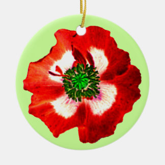 Poppy Red White Green ornament pale green
