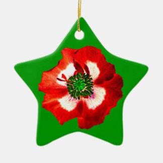 Poppy Red White Green ornament star green