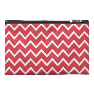 Poppy Red Zig Zag Chevron Travel Accessory Bags