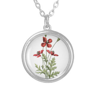 poppy save antique drawing botanical plate silver plated necklace