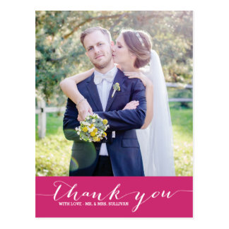 Poppy   Script Wedding Thank You Vertical Postcard