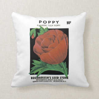 Poppy Seed Packet Label Throw Pillow