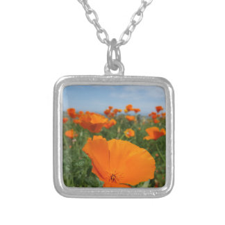 poppy silver plated necklace