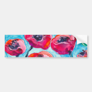 Poppy Sky - Floral Art Bumper Stickers