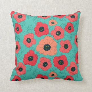poppy spin coral on teal throw pillow