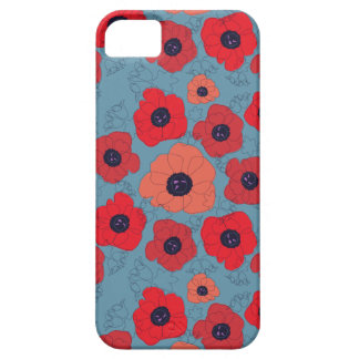 poppy spin red poppies blue background iPhone 5 cases