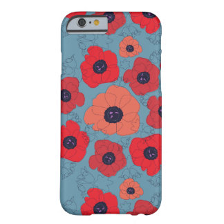 poppy spin red poppies blue background barely there iPhone 6 case