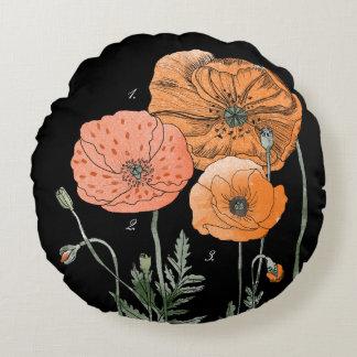 Poppy Study | Orange against black Round Pillow