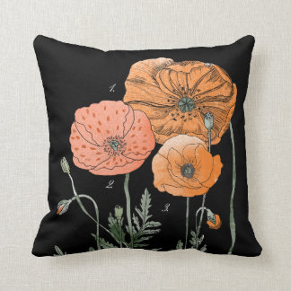 Poppy Study | Orange against Black Throw Pillow