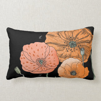 Poppy Study Orange Botanical Lumbar Pillow