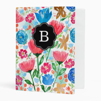 Poppy Summer Floral Pattern Personalized Mini Binder