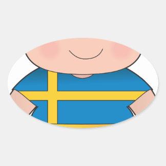 Poppy Sweden Boy Oval Sticker
