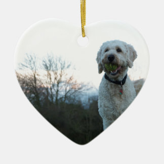 Poppy the labradoodle dog ceramic ornament