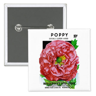 Poppy Vintage Seed Packet Button